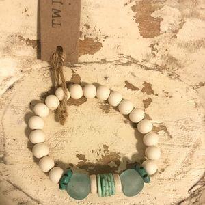 Twine & Twig Single Stack Bracelet | Aqua